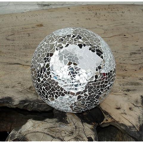 Sfera decorativa in vetro argento specchio a mosaico,10cm