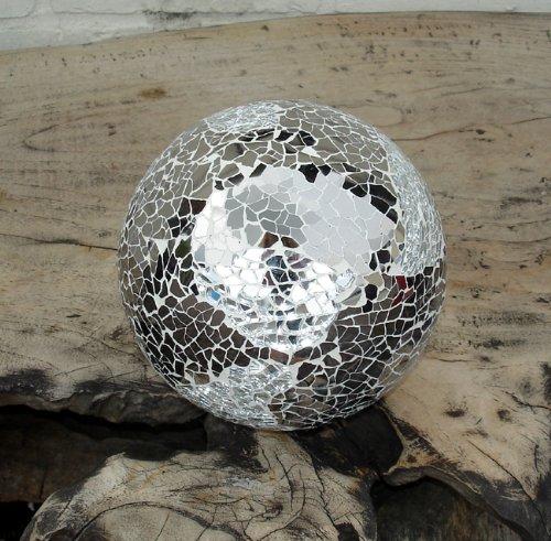 Silver Mirror Glass Mosaic Decor Ball - 10cm