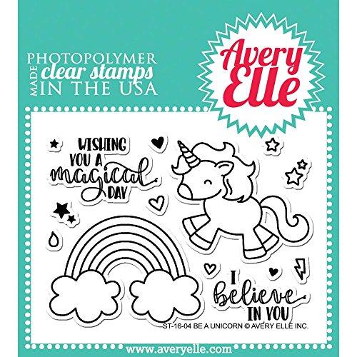 """Avery Elle ElleAvery-Set di timbri trasparenti 4 """"x 3"""" """", Be A Unicorn, altri, multicolore"""