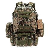 Lixada Multifunktions Militärischen taktischer Rucksack mit MOLLE Gurte Rucksack Sport Camping Reisen Wandern Tasche (Tarnfarbe 2)