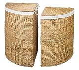Eck-Wäschebehälter TINA 2er Set aus Wasserhyazinthe Natur, Wäschekörbe Wäschesammler Wäschebehälter Wäschetruhe Aufbewahrungsbox mit Deckel Aufbewahrungskiste Aufbewahrungstruhe Wäschetruhe