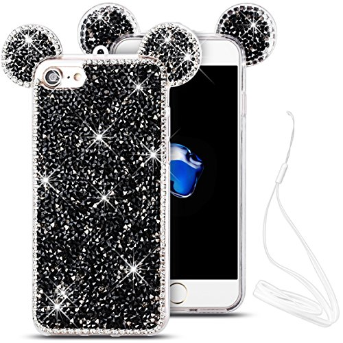 iPhone 7 Hülle, Yokata Weiche TPU Silikon Cover Diamant 3D Mouse Ear Design Bling Schutz Glitzer Case Cover Back Handytasche + Lanyard strap x 1 Schwarz