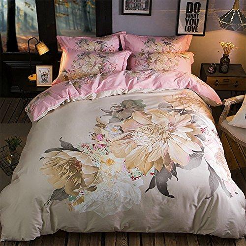 Elegante set di biancheria da letto in 4 pezzi in cotone, include un copripiumino, un lenzuolo e 2 federe, in 2 diverse dimensioni, disegni di fiori, molti colori,white,m