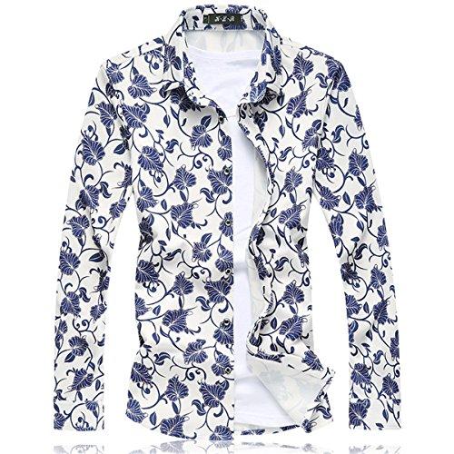 Männer Übergröße 5XL Langarm Blumen Druck Weiß Baumwolle Freizeit Hemden Weiß