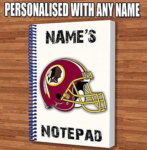 Football américain NFL Washington Redskins Cadeau personnalisé–bloc-notes A5/ordinateur portable–dessins Doodles Agenda des notes