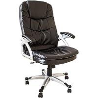 Nativ Chefsessel mit Armlehnen, Bürostuhl in schwarzer Kunstleder-Optik, höhenverstellbarer Schreibtischstuhl, Drehstuhl, Bürosessel, Stuhl für Büro und Arbeitszimmer