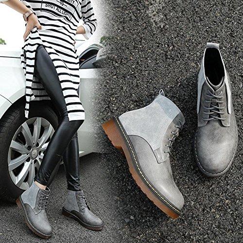 &zhou femelle Martin bottes automne et bottes d'hiver mode plat - à fond des bottes gray