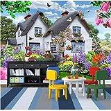 Liwenjun Fond D'Écran Mural Ciel Bleu Maison De Paille Multicolore Petit Chien...