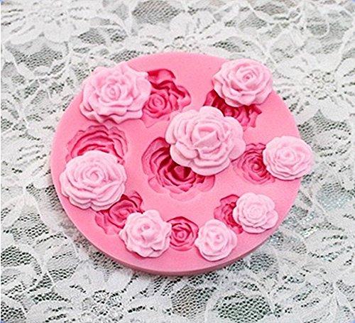 JYSPORT Silikon Muffinform Muffin Schokolade Cookies Muffinförmchen Kuchen Dessert Pudding Gelee Mini-Cupcake Formenset Kuchenformen Backform (9 hole rose) Rose Muffin