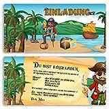 (20 x) Einladungskarten Kindergeburtstag Pirat Schatz Einschulung Einladungen
