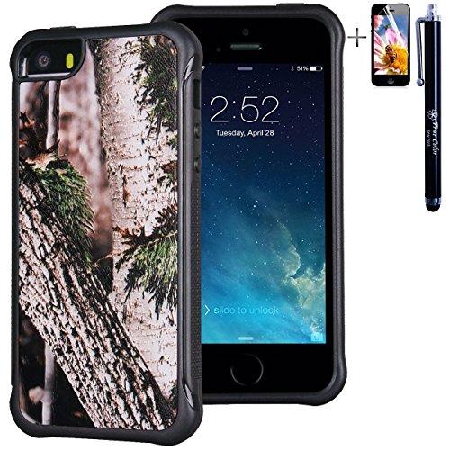 iPhone 55S case, True Color® rilievo stampato resistente agli urti TPU protettiva antiscivolo grip snap-on morbido robusto cover per iPhone 55S [True Impact Series] + pennino e pellicola protettiva  Real HD Forest Camo