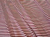 Stoff Meterware Jersey Ringeljersey Streifen rot weiß gestreift
