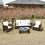 New Rattan Wicker Weave Garden Furniture Patio Conservatory 2 or 3 Seater Sofa Sets (Brown, Algarve 3+1+1)