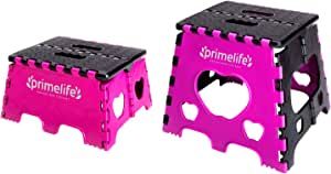 """Primelife Plastic Folding Step Stools, Foot Stool for Kitchen Convenient Usages, Quick-Fold Step Stool 7"""" and 12"""" Inches Combo Set of 2 (Pink - Black)"""