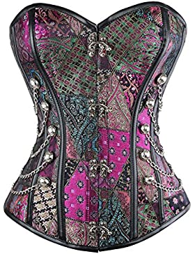 Beauty-You Mujer Steampunk Gothic Steel Bones Corsés y Bustiers Top Retro Corset Waist Training