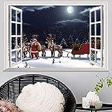 MAYOGO Weihnachten 3D Wandaufkleber Virtuelle Simulation Fenster Wand Stickers Europa Renaissance Retro Wandbild Schneeszene Wand Aufkleber 72x48cm