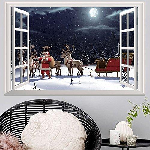 MAYOGO Weihnachten 3D Wandaufkleber Virtuelle Simulation Fenster Wand Stickers Europa Renaissance Retro Wandbild Schneeszene Wand Aufkleber ()