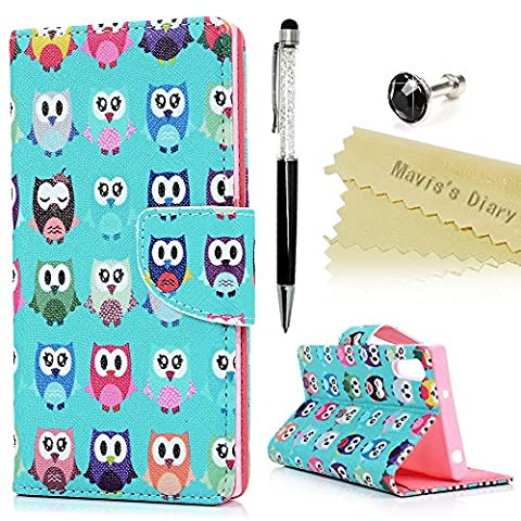 Xperia XZ Case ,Sony Xperia XZ Case - Mavis's Diary PU Leather Wallet Flip Cover Printing Design Flexible Inner TPU Bumper Cover Card Slots Kickstand Function Slim Protective Cover with One Dust Plug & One Stylus Pen - Owls