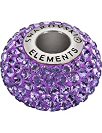 Grand Trou Perles de Verre a enfiler de Swarovski Elements 'BeCharmed Pave' 14.0mm (Tanzanite, Acier affiné), 12 Pièces