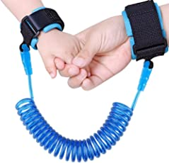 AB SALES Anti Lost Wristband with Lock Toddler Child Safety Wrist Strap Rope Leash Hand Belt, Anti Lost Rope Walking Link Harness for Kids(1.5 to 2.5 m, Multi Colour)