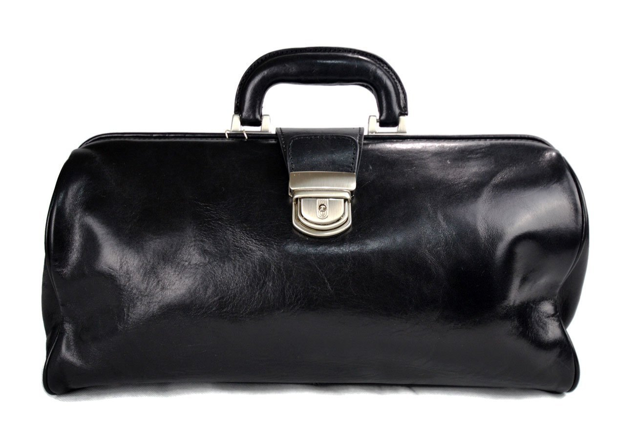 Leather doctor bag messenger handbag ladies men leatherbag briefcase vintage duffle bag black made in Italy luxury bag travel weekender - handmade-bags