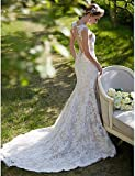 Heart&M A sirena Vestito da sposa - Moderno Traforato Abiti sposa colorati Strascico di corte Con decorazione gioiello Di pizzo con , white