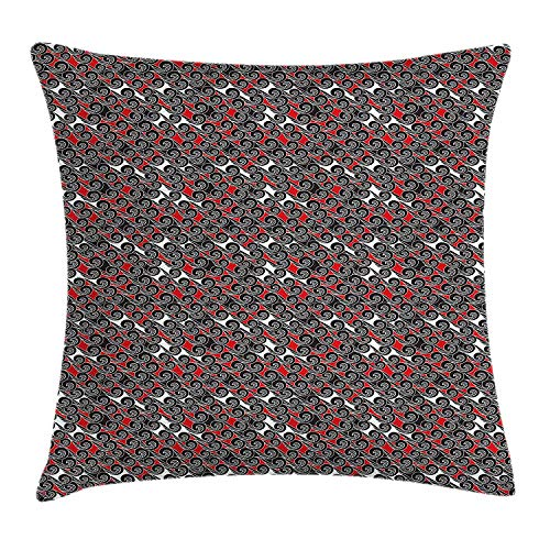 XIAOYI Red and Black Throw Pillow Cushion Cover, Artistic Abstract Waves Pattern Contemporary Style Swirls Sea Inspired, Decorative Square Accent Pillow Case, 18 X 18 inches, Red Black White -