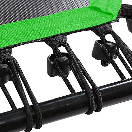 SportPlus Fitness Trampolin, Bungee-Seil-System, Ø 110 cm, bis 130 kg Benutzergewicht, TÜV Süd Sicherheit geprüft, grün federn