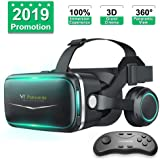 Pansonite Vr Headset with Remote Controller[New Version], 3D Gl Virtual Reality Headset for VR Games & 3D Movies, Eye Care Sy
