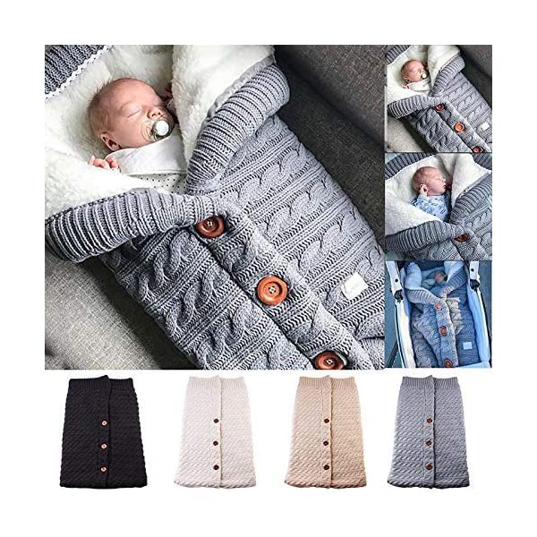 Baifeng Bebé Botón Manta Crochet Tejido Invierno Cálido Envuelto Saco de Dormir