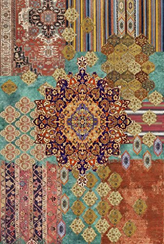 Vilber Bohemian Nomad Alfombra, Vinilo, Multicolor, 153x200x0.2cm