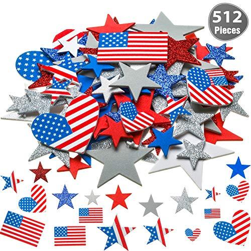 Outus 521 Stücke 6 Größen Patriotische Sterne Aufkleber USA Flagge Schaum Aufkleber Selbstklebende Aufkleber für 4. Juli Dekorative Handwerk Aufkleber, 9 Farben -