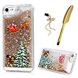 iPhone 7 Case, MAXFE.CO Christmas Clear Shiny Glitter Stars Floating Liquid Hard Plastic Phone Cover (Gold) Slim Fit Protective Xmas Santa Claus Printed Case for iPhone 7