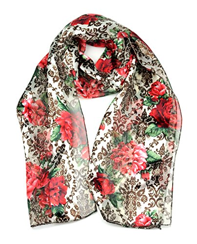 Foulard versatile en mousseline d'inspiration florale. Produit offert par NYfashion101 1534 IV/RD