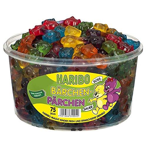 Haribo Bärchen Pärchen, Gomitas de Fruta, Gominolas, Ositos de Goma, 75 Unidades, 1200g Tarro