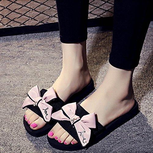 Minetom Donne Estate Casuale Bowtie Sandali Pantofole con Plateau e Delle Signore Spiaggia Piscina Femminili Pink