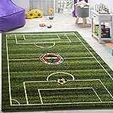 Alfombra Infantil Habitación Juegos Fútbol Campo Fútbol Estampada Verde, tamaño:133x190 cm