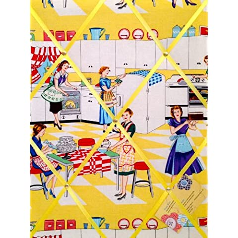 Media Michael Miller Home Economics 50, da donna, da cucina realizzato a mano tessuto avviso/Pin/Memo Board - Michael Miller Crema