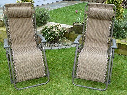 set of 2 garden sun lounger relaxer recliner garden chairs