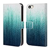 Head Case Designs Official Caitlin Workman Teal Ombre Patterns Leather Book Wallet Case Cover For Apple iPhone 5/5s/SE