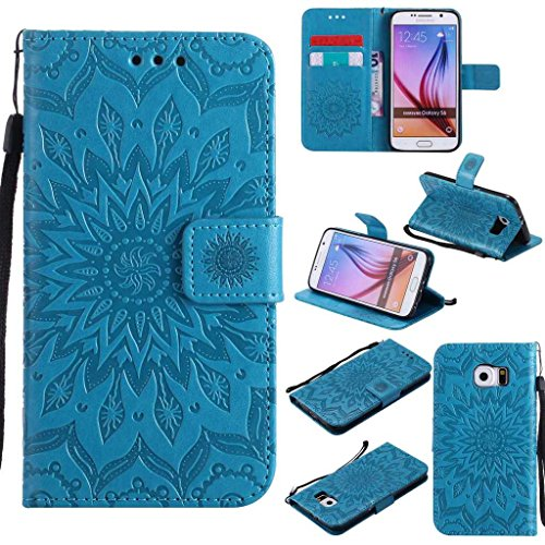 Galaxy S6 Case, KKEIKO® Galaxy S6 Flip Leather Case [with Free Tempered Glass Screen Protector], Shockproof Bumper Cover and Premium Wallet Case for Samsung Galaxy S6 (Blue)