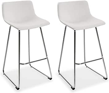 con seduta fissa in similpelle e gambe in metallo color argento Versa 21330016 Set di 2 sgabelli da bar Plymouth colore nero 92 x 43 x 48 cm