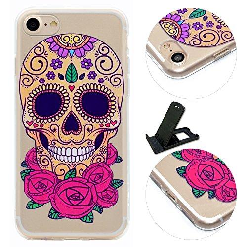 iPhone 7 Hülle (4.7 Zoll), E-Lush TPU Material Gehäuse, Schlank und Leichtes Transparentes Stoßfängergehäuse [Anti-Kratzer, Schockresistent] Schutzhülle für iPhone 7 (4.7 Zoll) - Herz Blumenschädel