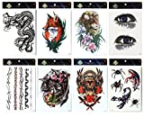 Langlebige und realistische temp Tattoo-Aufkleber 8er mischt in Pakete, inklusive Auge, schreckliche Schädel, Drachen, Wolf, Löwe, Spinne, Totem, Schlangen-Tattoos