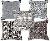 McAlister Textiles Aztec Kollektion | 5er Set Black & White Zierkissen mit Füllung Verschiedene Designs 40cm x 40cm | Deko Kissen für Sofa, Couch, Bett