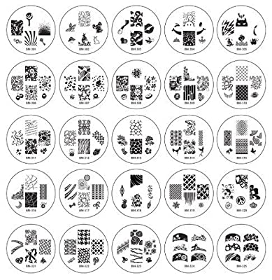 Bundle Monster 25pc Nail Art Nailart Polish Stamping Manicure Plates Image Designs Accessories Kit - 2012 Collection by Bundle Monster