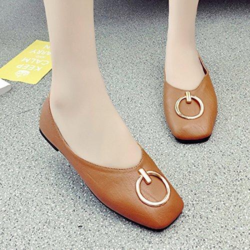 RUGAI-UE Vintage a fondo piatto sandali estivi luce Vintage bocca tacco piatto Round fibbia Calzature Donna Brown