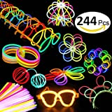 Aookey 100 Barre Luminose per Party, Connettori per Collana Lucida, Palline da Fiori, Occhiali Luminosi, Bracciali Triple e Clip per Capelli