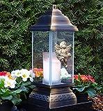 ♥ Grablaterne Grablampe Ornament Engel 34,0cm mit Grabkerze Grablicht Grabschmuck Grableuchte Laterne Kerze Lampe Licht