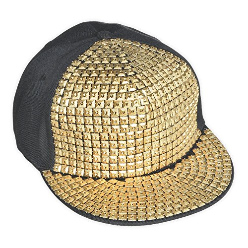 fdcf2cd00bc Adult Hip Hop Party Bling Hat Black and Gold Diamonte Cap Novelty Fancy  Dress Accessory